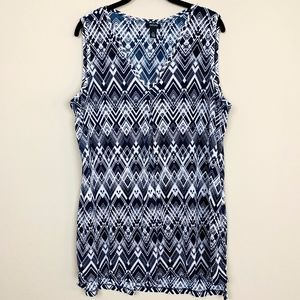Alfani Navy Print Crinkle Tunic Top XL